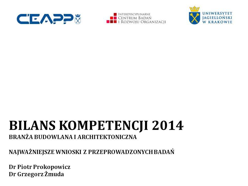 BILANS KOMPETENCJI 2014 BRANŻA BUDOWLANA I ARCHITEKTONICZNA NAJWAŻNIEJSZE WNIOSKI Z PRZEPROWADZONYCH BADAŃ Dr Piotr Prokopowicz Dr Grzegorz Żmuda