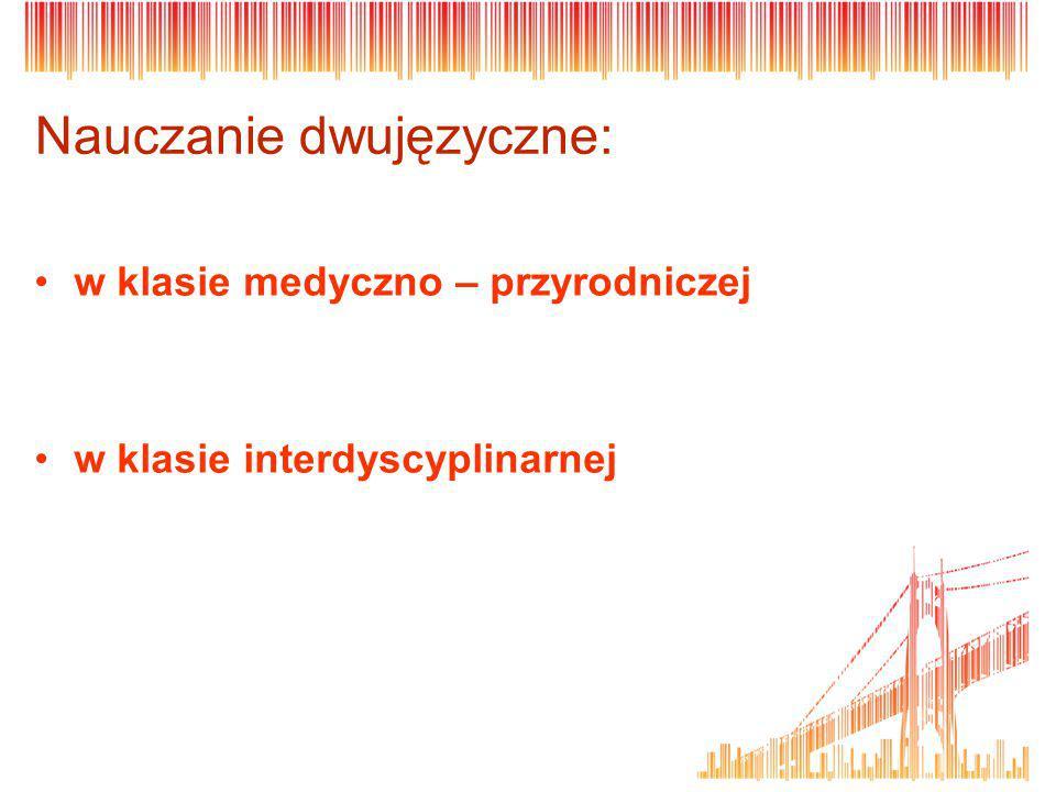Nauczanie dwujęzyczne: w klasie medyczno – przyrodniczej w klasie interdyscyplinarnej