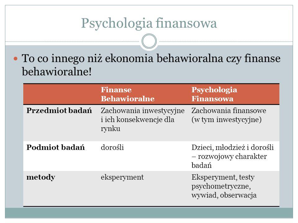 Psychologia finansowa To co innego niż ekonomia behawioralna czy finanse behawioralne! Finanse Behawioralne Psychologia Finansowa Przedmiot badańZacho