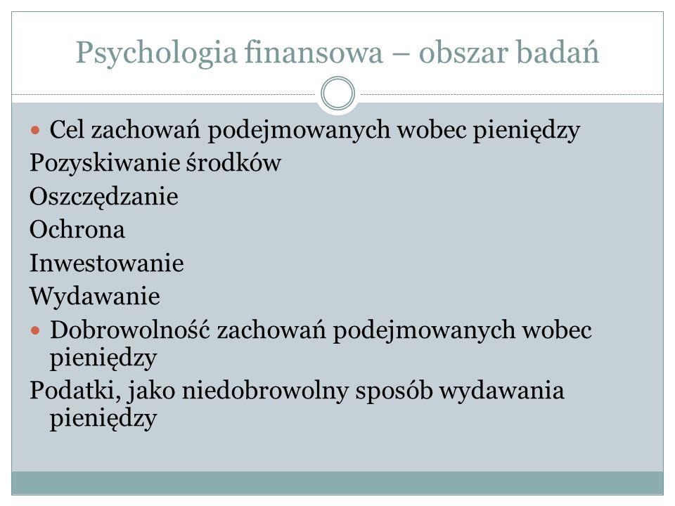 Psychologia finansowa – obszar badań Cel zachowań podejmowanych wobec pieniędzy Pozyskiwanie środków Oszczędzanie Ochrona Inwestowanie Wydawanie Dobro