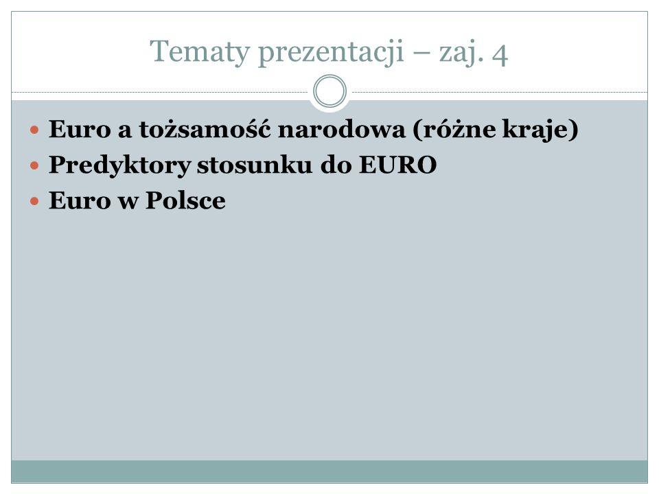 Tematy prezentacji – zaj. 4 Euro a tożsamość narodowa (różne kraje) Predyktory stosunku do EURO Euro w Polsce