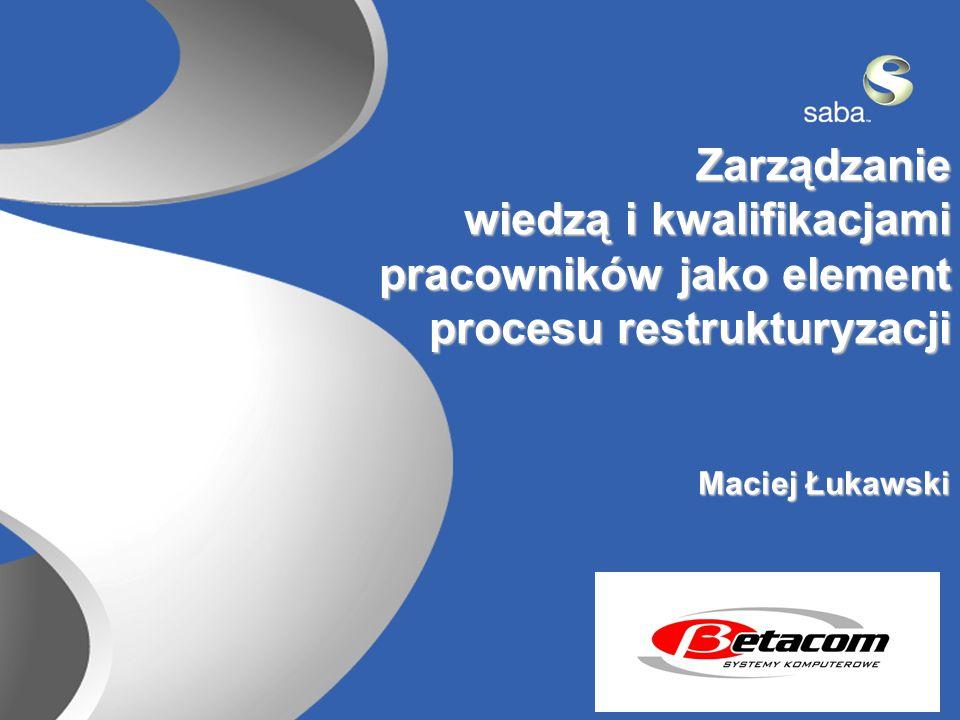2 Zarządzanie wiedzą i kwalifikacjami pracowników jako element procesu restrukturyzacji procesu restrukturyzacji Maciej Łukawski