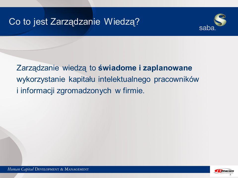7 Co to jest Zarządzanie Wiedzą? Zarządzanie wiedzą to świadome i zaplanowane wykorzystanie kapitału intelektualnego pracowników i informacji zgromadz