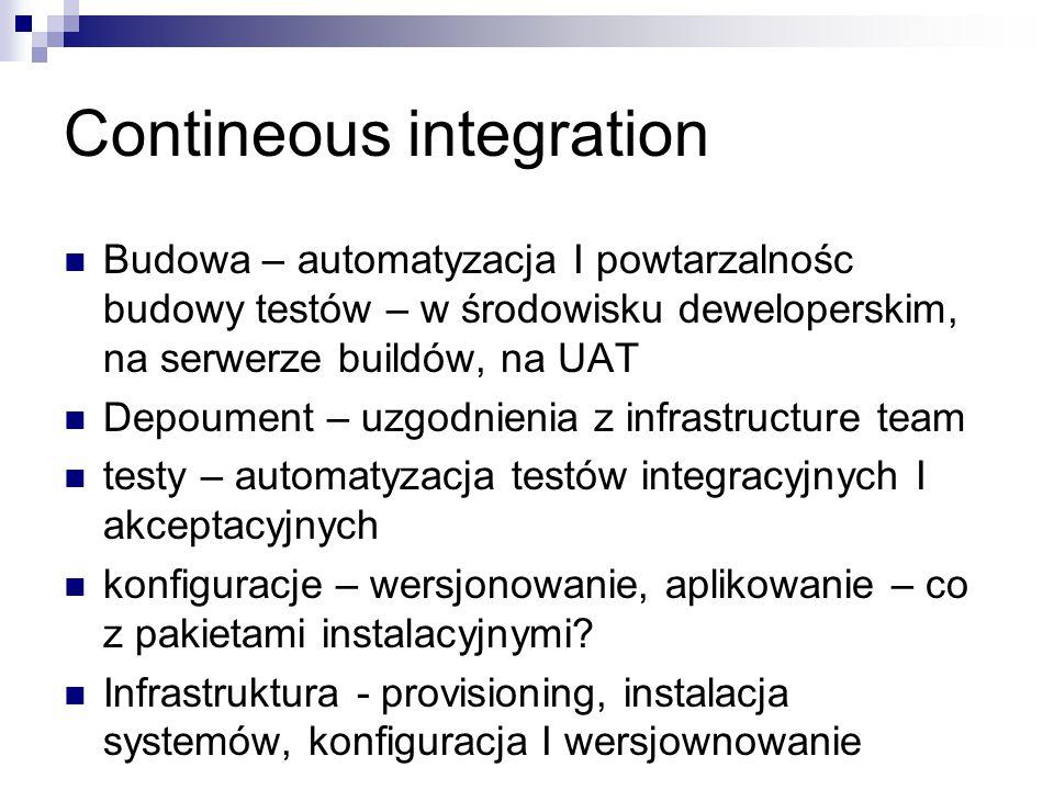 Contineous integration Budowa – automatyzacja I powtarzalnośc budowy testów – w środowisku deweloperskim, na serwerze buildów, na UAT Depoument – uzgo