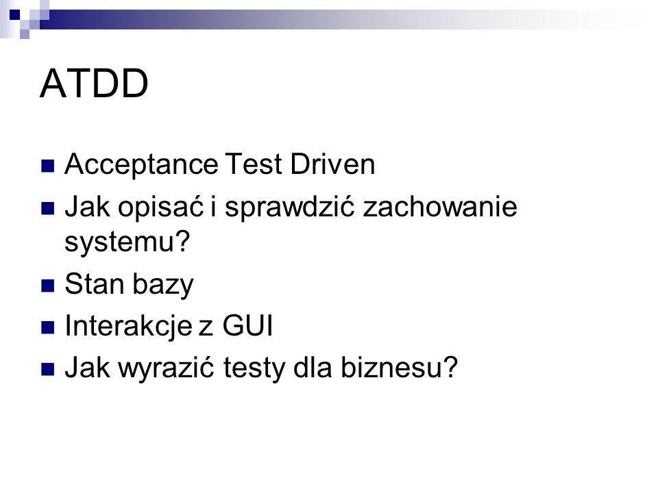 ATDD Acceptance Test Driven Jak opisać i sprawdzić zachowanie systemu? Stan bazy Interakcje z GUI Jak wyrazić testy dla biznesu?