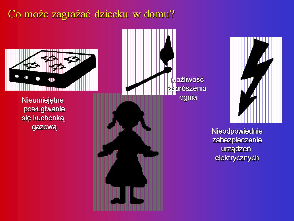 Co może zagrażać dziecku w domu? Nieumiejętne posługiwanie się kuchenką gazową Możliwość zaprószenia ognia Nieodpowiednie zabezpieczenie urządzeń elek