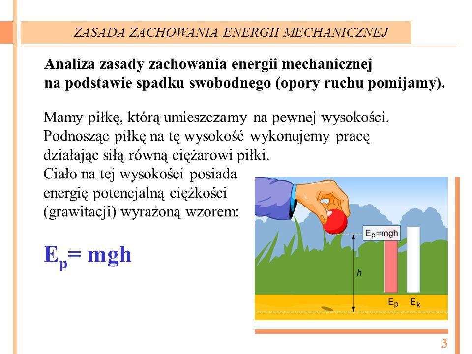 Analiza zasady zachowania energii mechanicznej na podstawie spadku swobodnego (opory ruchu pomijamy). Mamy piłkę, którą umieszczamy na pewnej wysokośc