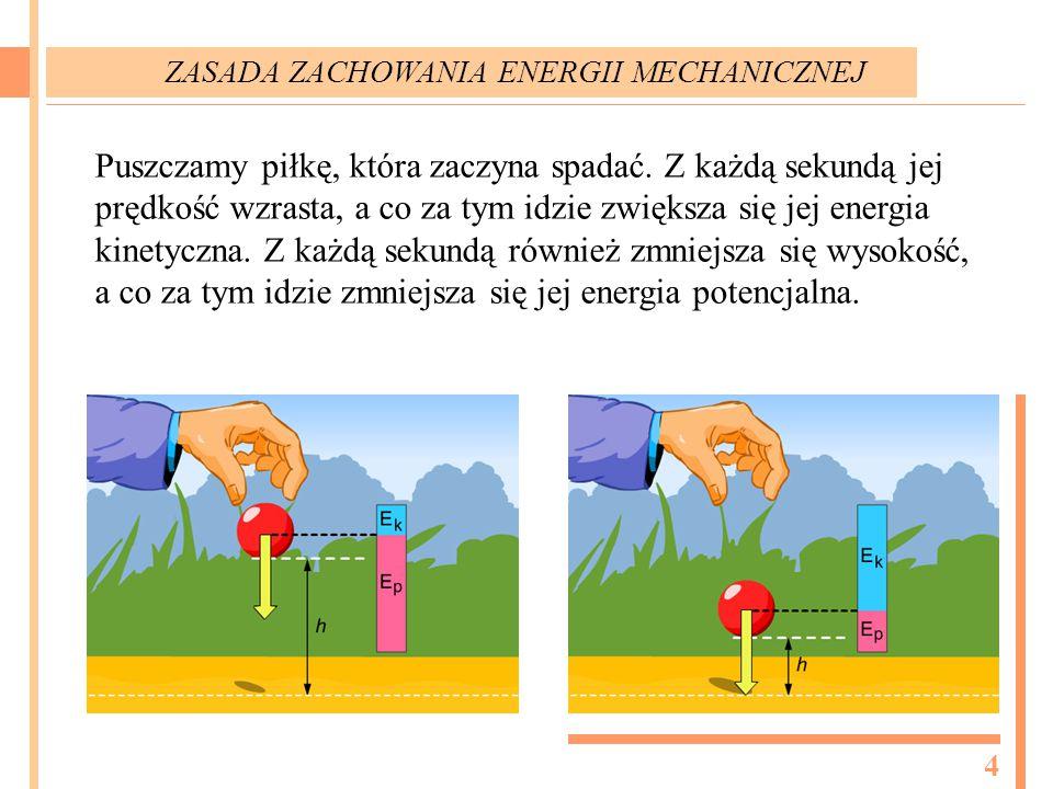 Puszczamy piłkę, która zaczyna spadać. Z każdą sekundą jej prędkość wzrasta, a co za tym idzie zwiększa się jej energia kinetyczna. Z każdą sekundą ró