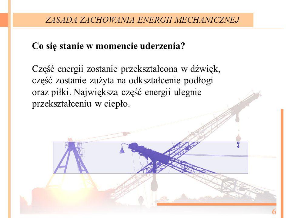 Co się stanie w momencie uderzenia? Część energii zostanie przekształcona w dźwięk, część zostanie zużyta na odkształcenie podłogi oraz piłki. Najwięk