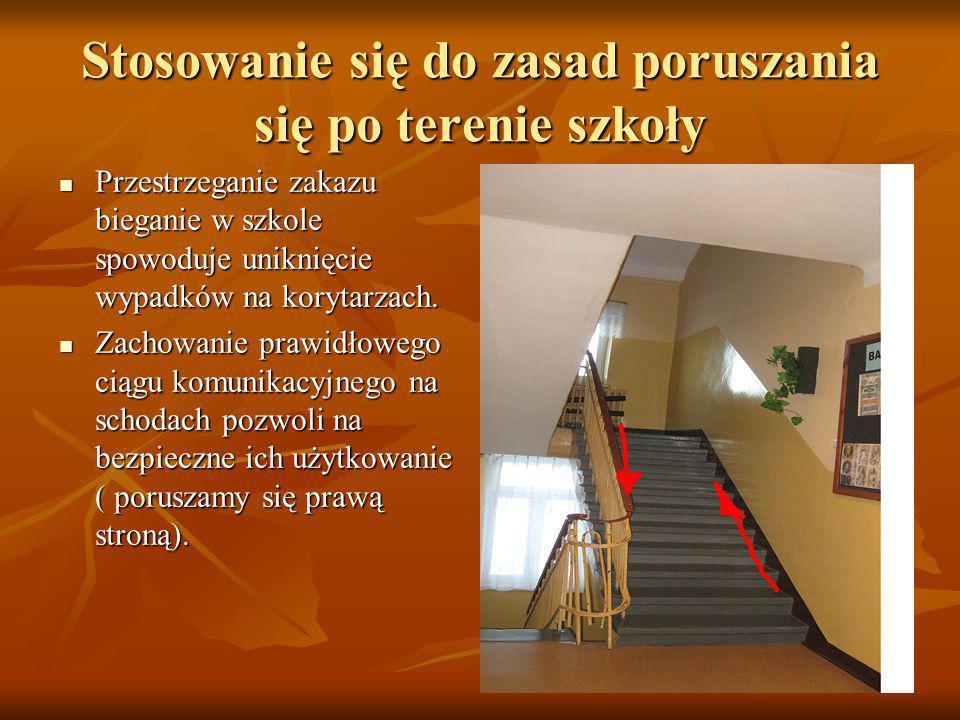 Stosowanie się do zasad poruszania się po terenie szkoły Przestrzeganie zakazu bieganie w szkole spowoduje uniknięcie wypadków na korytarzach.