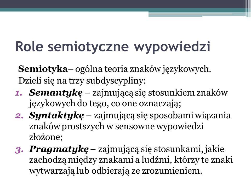 Role semiotyczne wypowiedzi Semiotyka– ogólna teoria znaków językowych.