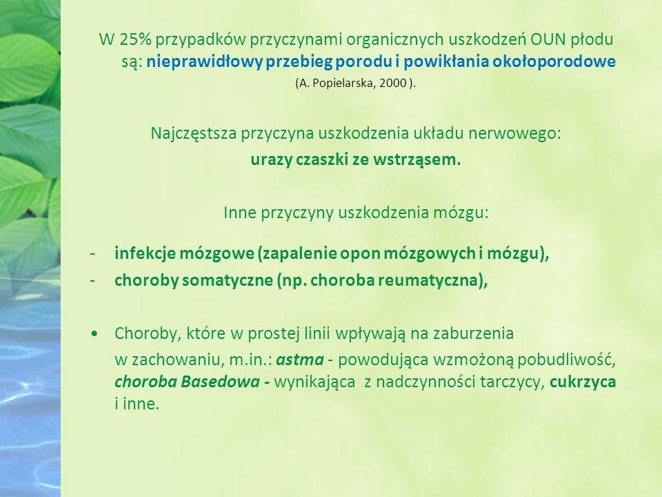 W 25% przypadków przyczynami organicznych uszkodzeń OUN płodu są: nieprawidłowy przebieg porodu i powikłania okołoporodowe (A. Popielarska, 2000 ). Na