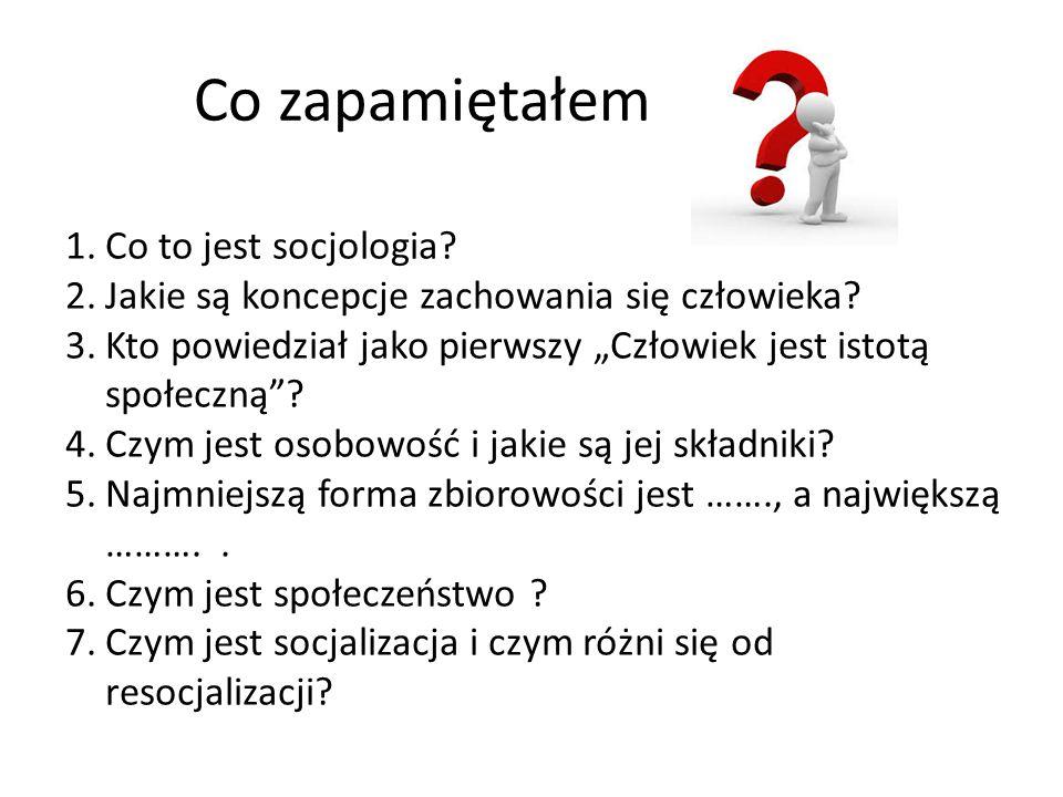 """Co zapamiętałem 1.Co to jest socjologia? 2.Jakie są koncepcje zachowania się człowieka? 3.Kto powiedział jako pierwszy """"Człowiek jest istotą społeczną"""