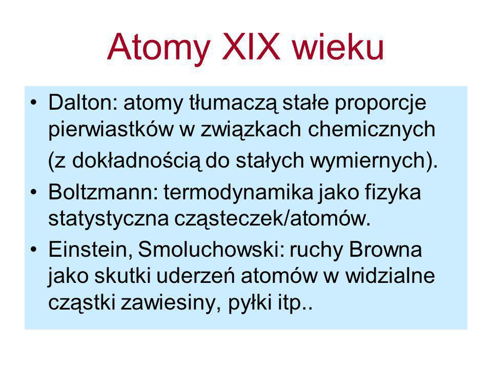 Atomy XIX wieku Dalton: atomy tłumaczą stałe proporcje pierwiastków w związkach chemicznych (z dokładnością do stałych wymiernych). Boltzmann: termody