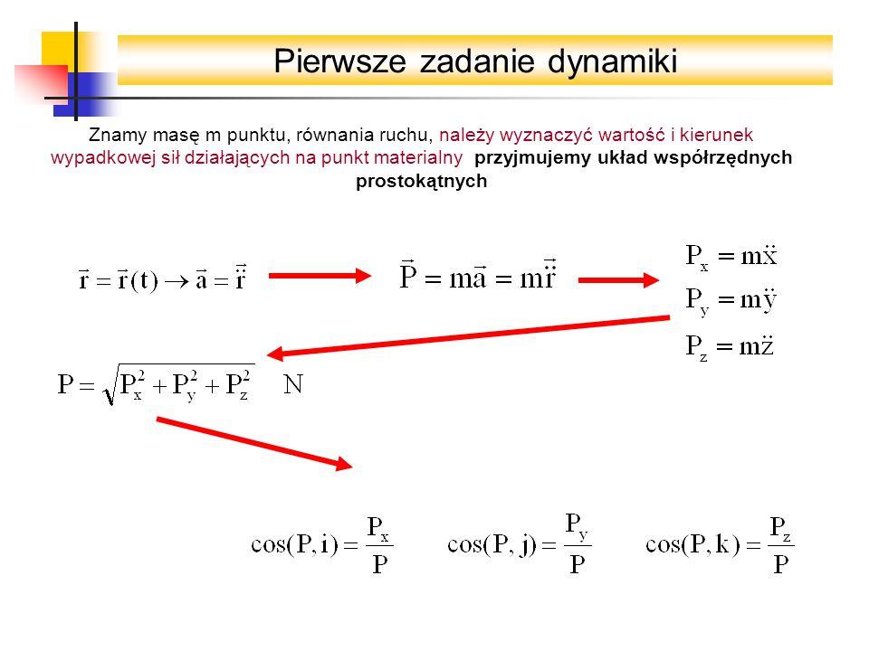 Pierwsze zadanie dynamiki Znamy masę m punktu, równania ruchu, należy wyznaczyć wartość i kierunek wypadkowej sił działających na punkt materialny przyjmujemy układ współrzędnych prostokątnych