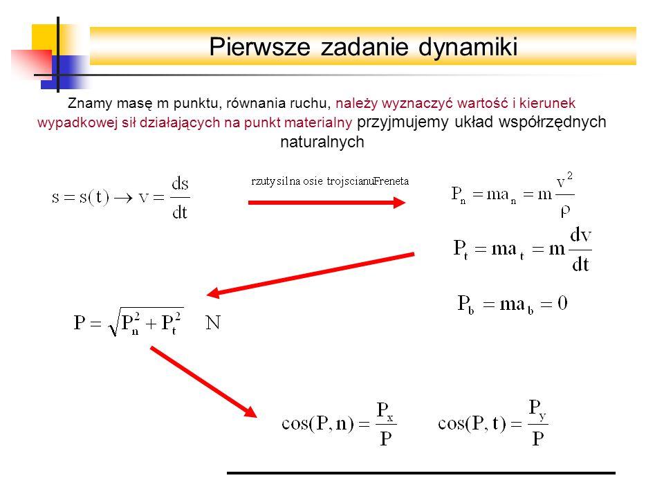 Pierwsze zadanie dynamiki Znamy masę m punktu, równania ruchu, należy wyznaczyć wartość i kierunek wypadkowej sił działających na punkt materialny przyjmujemy układ współrzędnych naturalnych
