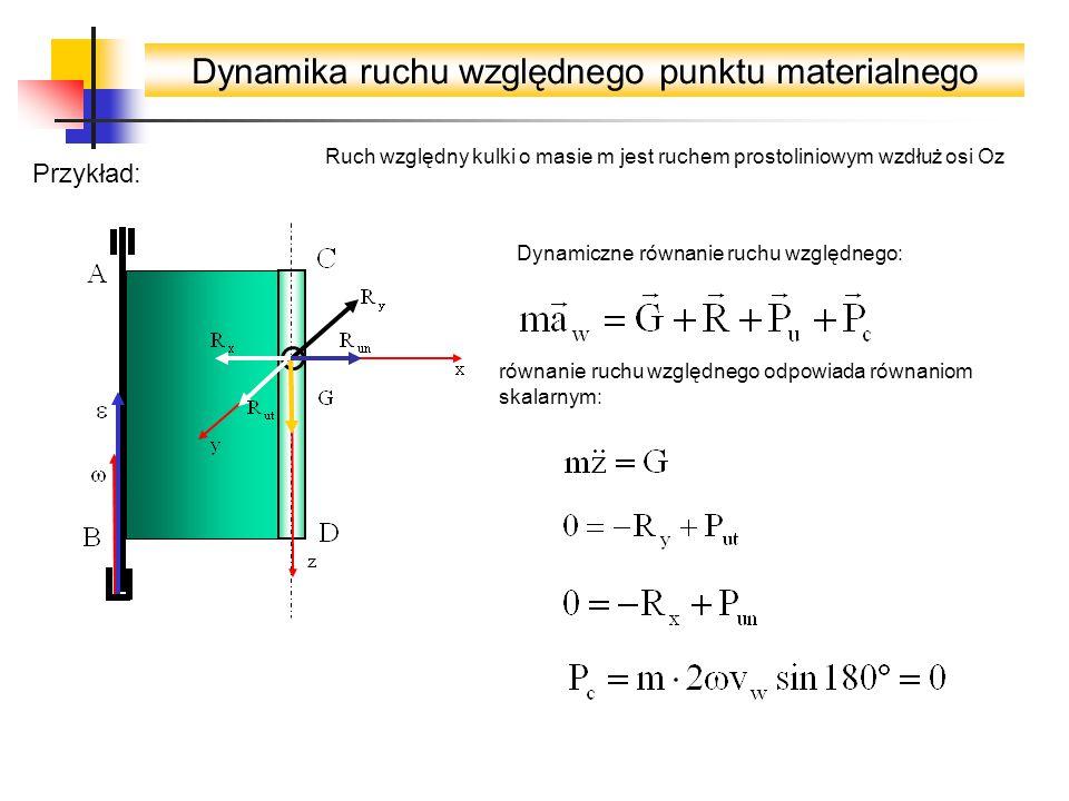 Dynamika ruchu względnego punktu materialnego Przykład: Ruch względny kulki o masie m jest ruchem prostoliniowym wzdłuż osi Oz Dynamiczne równanie ruchu względnego: równanie ruchu względnego odpowiada równaniom skalarnym: