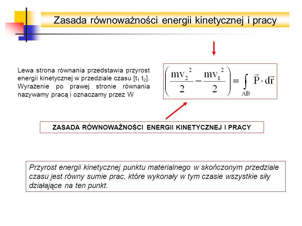 Zasada równoważności energii kinetycznej i pracy Lewa strona równania przedstawia przyrost energii kinetycznej w przedziale czasu [t 1 t 2 ].