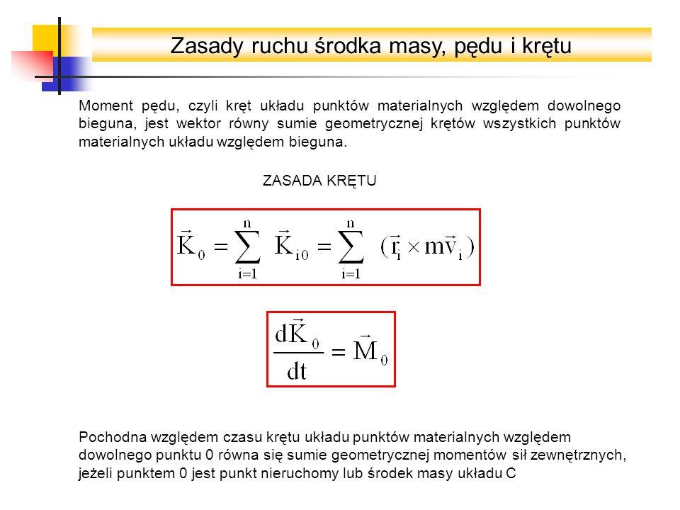Zasady ruchu środka masy, pędu i krętu Moment pędu, czyli kręt układu punktów materialnych względem dowolnego bieguna, jest wektor równy sumie geometr