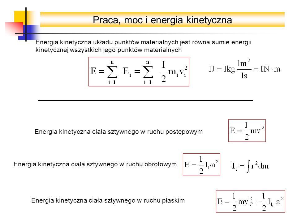 Praca, moc i energia kinetyczna Energia kinetyczna układu punktów materialnych jest równa sumie energii kinetycznej wszystkich jego punktów materialnych Energia kinetyczna ciała sztywnego w ruchu płaskim Energia kinetyczna ciała sztywnego w ruchu postępowym Energia kinetyczna ciała sztywnego w ruchu obrotowym