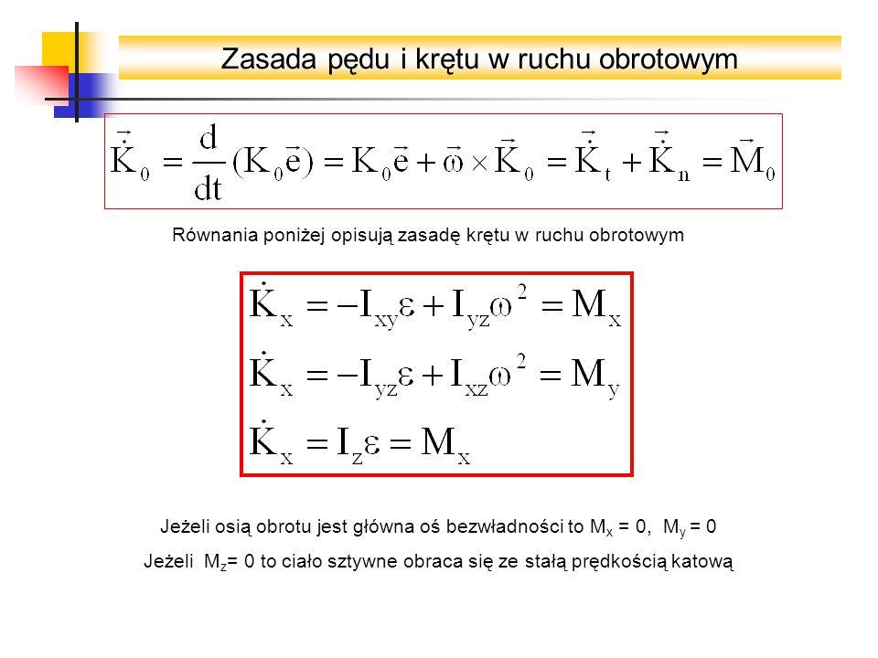 Zasada pędu i krętu w ruchu obrotowym Równania poniżej opisują zasadę krętu w ruchu obrotowym Jeżeli osią obrotu jest główna oś bezwładności to M x = 0, M y = 0 Jeżeli M z = 0 to ciało sztywne obraca się ze stałą prędkością katową