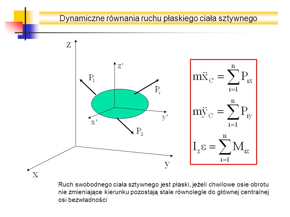 Dynamiczne równania ruchu płaskiego ciała sztywnego Ruch swobodnego ciała sztywnego jest płaski, jeżeli chwilowe osie obrotu nie zmieniające kierunku pozostają stale równolegle do głównej centralnej osi bezwładności