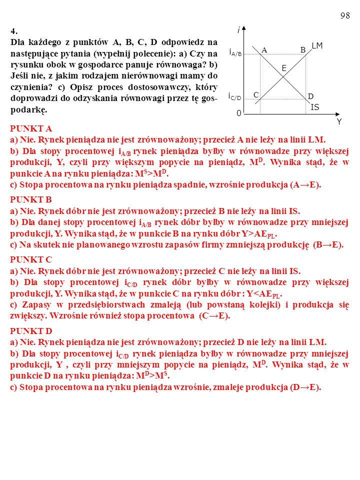97 a) Y = C + I + G = 50 + 0,7  Y + 200 – 750  i + 200 = 450 + 0,7  Y – 750  i.