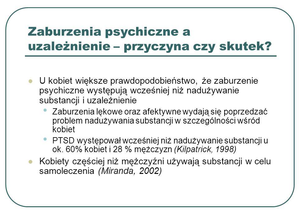 Specyficzne cechy leczenia kobiet Personel świadomy specyficznych problemów kobiet Zintegrowany model opieki – diagnozowanie i zajmowanie się całym spektrum problemów, w tym zaburzeń psychicznych Stworzenie bezpiecznego środowiska Tworzenie i wzmacnianie relacji interpersonalnych, budowanie sieci wsparcia społecznego Redukowanie objawów PTSD przez doświadczony personel-r yzyko nawrotu choroby (Brown, 2004) Unikanie technik konfrontacyjnych (Copeland, 1997)