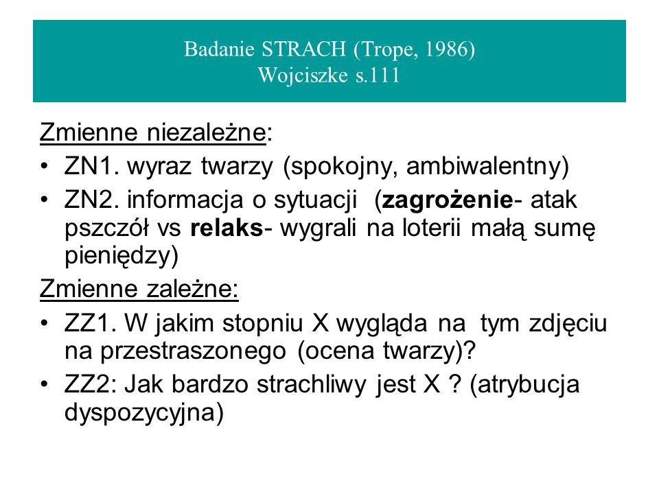 Badanie STRACH (Trope, 1986) Wojciszke s.111 Zmienne niezależne: ZN1.