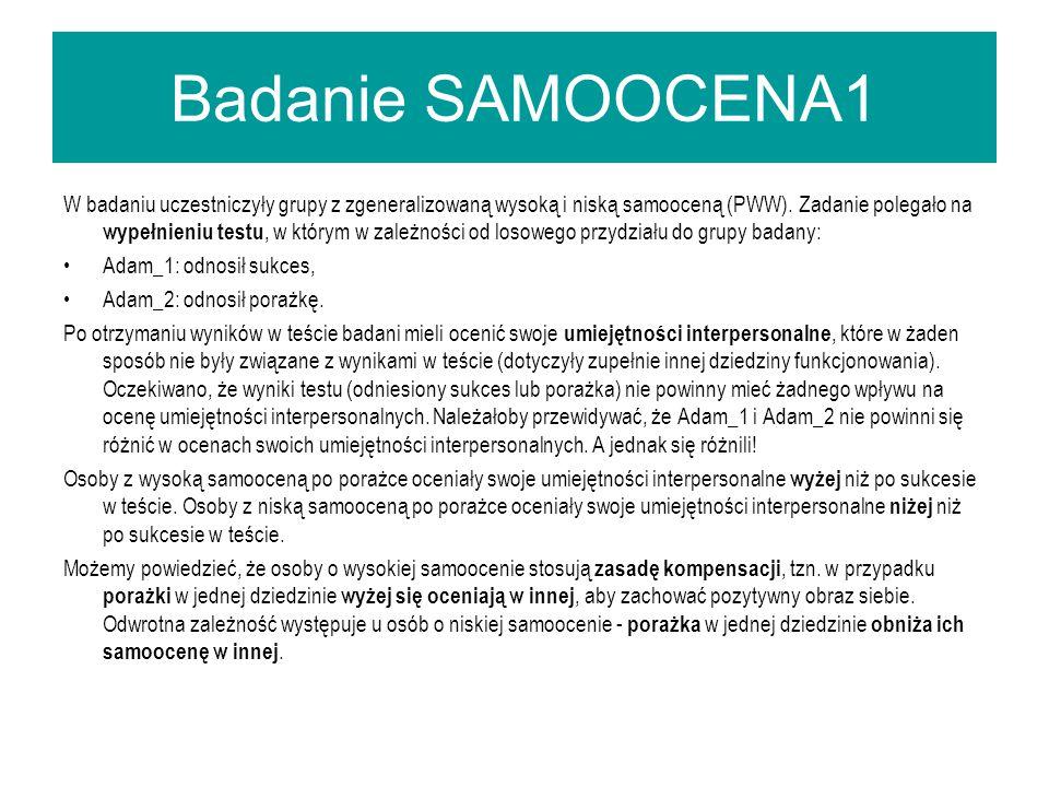 Badanie SAMOOCENA1 W badaniu uczestniczyły grupy z zgeneralizowaną wysoką i niską samooceną (PWW).