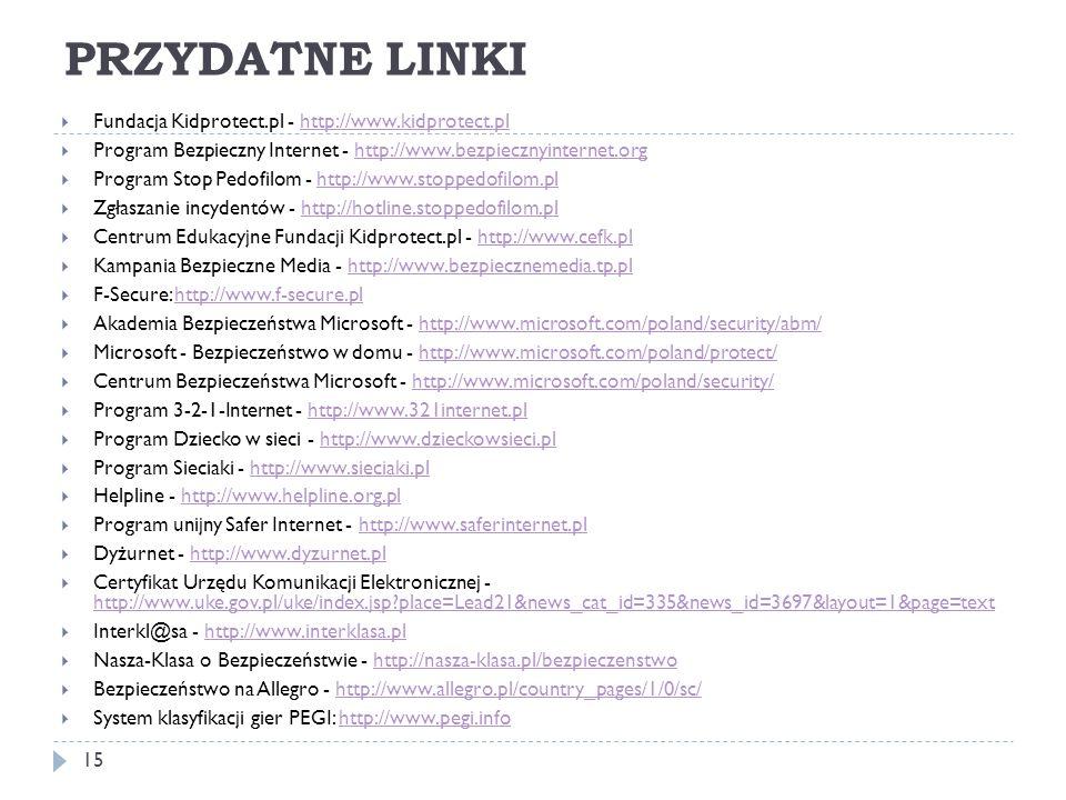 PRZYDATNE LINKI  Fundacja Kidprotect.pl - http://www.kidprotect.plhttp://www.kidprotect.pl  Program Bezpieczny Internet - http://www.bezpiecznyinter