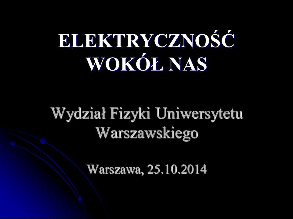 Wydział Fizyki Uniwersytetu Warszawskiego Warszawa, 25.10.2014 ELEKTRYCZNOŚĆ WOKÓŁ NAS