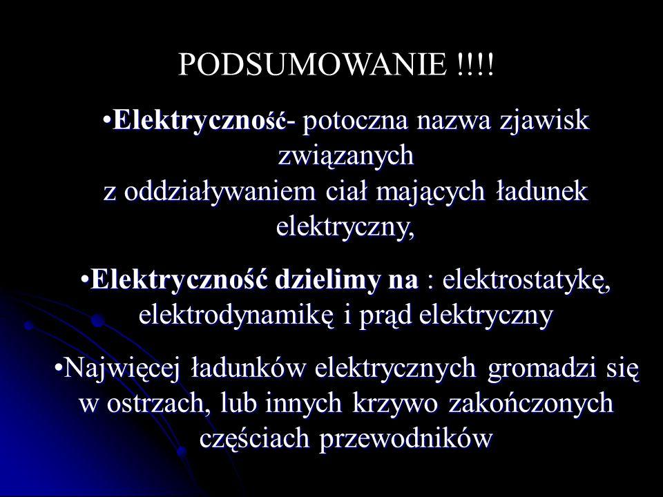 PODSUMOWANIE !!!! Elektryczno ść - potoczna nazwa zjawisk związanych z oddziaływaniem ciał mających ładunek elektryczny,Elektryczno ść - potoczna nazw