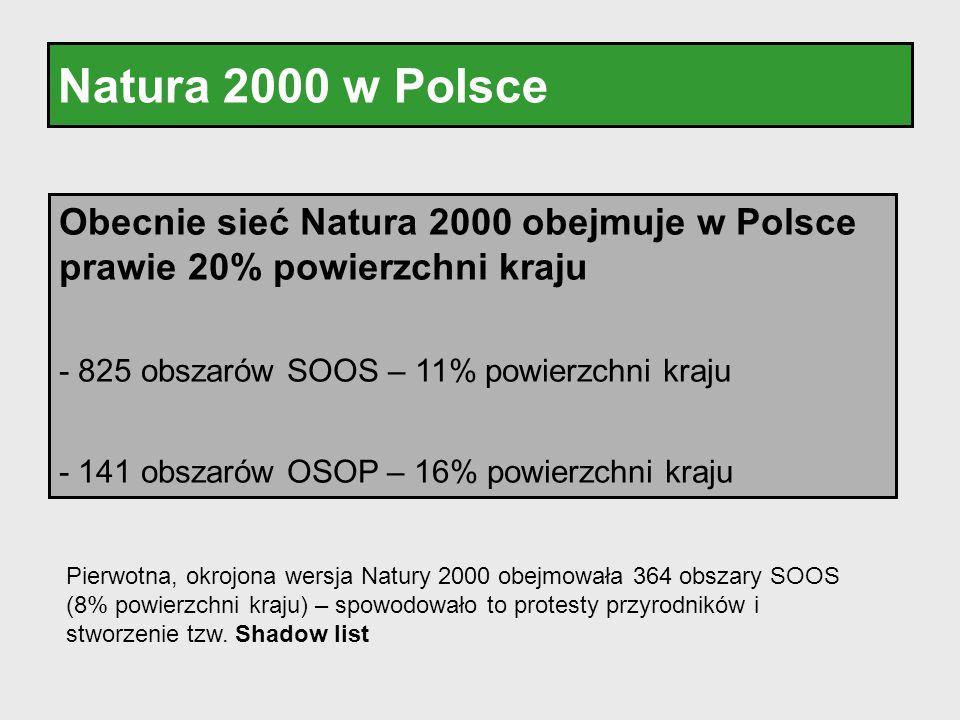 Natura 2000 w Polsce Obecnie sieć Natura 2000 obejmuje w Polsce prawie 20% powierzchni kraju - 825 obszarów SOOS – 11% powierzchni kraju - 141 obszaró