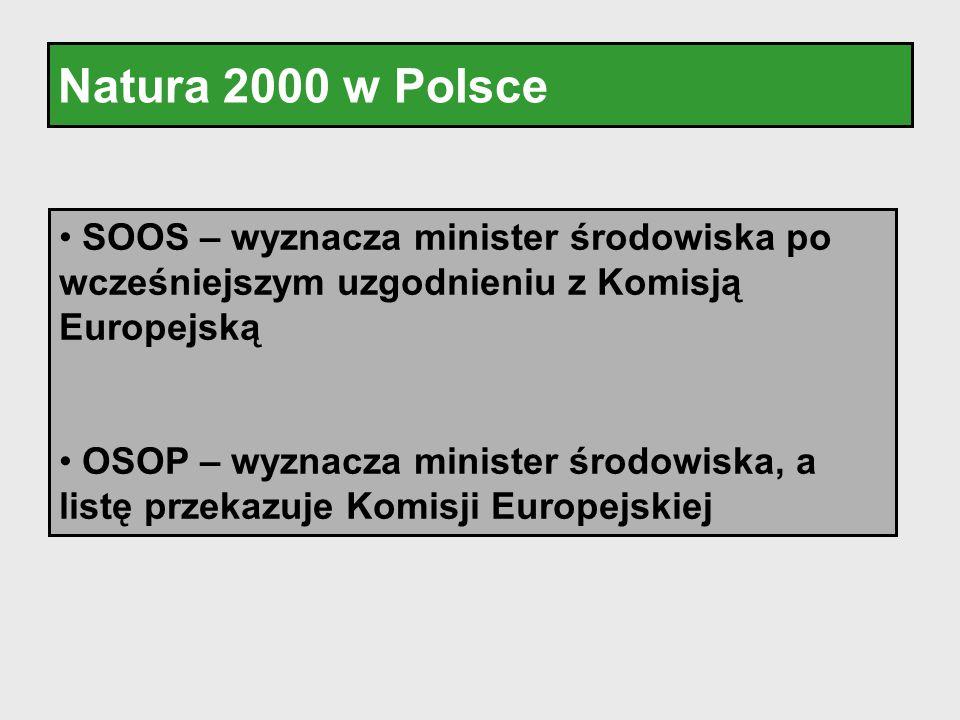 Natura 2000 w Polsce SOOS – wyznacza minister środowiska po wcześniejszym uzgodnieniu z Komisją Europejską OSOP – wyznacza minister środowiska, a list