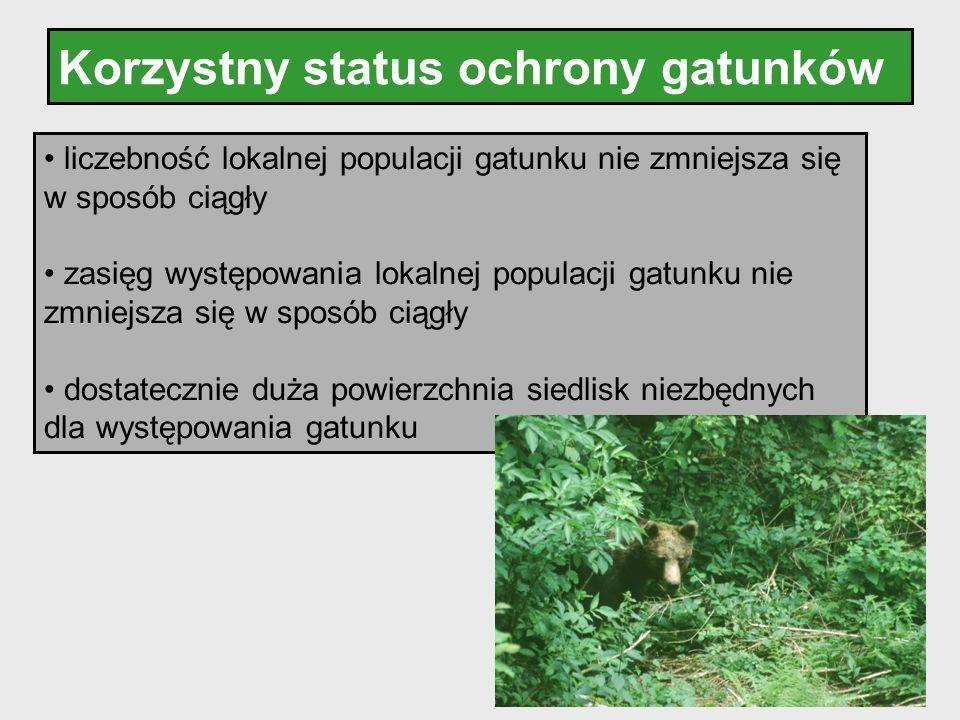 Korzystny status ochrony gatunków liczebność lokalnej populacji gatunku nie zmniejsza się w sposób ciągły zasięg występowania lokalnej populacji gatun