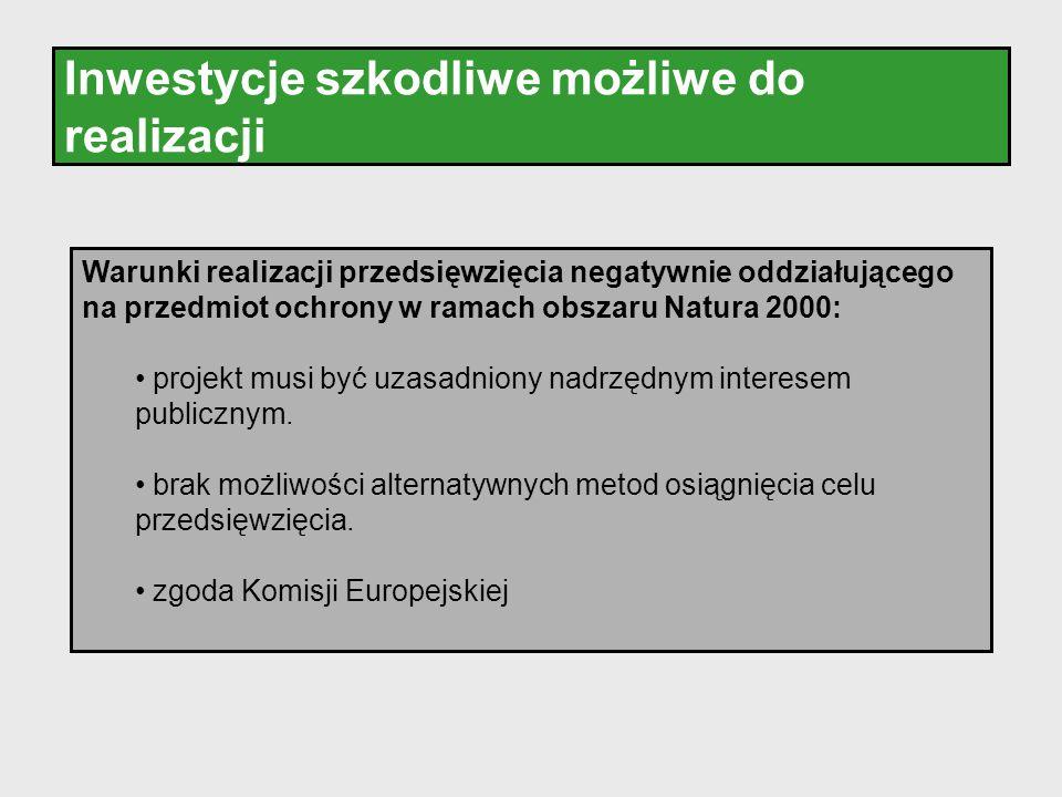 Inwestycje szkodliwe możliwe do realizacji Warunki realizacji przedsięwzięcia negatywnie oddziałującego na przedmiot ochrony w ramach obszaru Natura 2