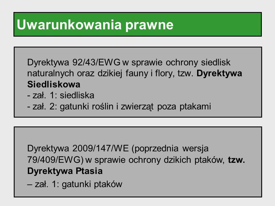 Uwarunkowania prawne Dyrektywa 92/43/EWG w sprawie ochrony siedlisk naturalnych oraz dzikiej fauny i flory, tzw. Dyrektywa Siedliskowa - zał. 1: siedl