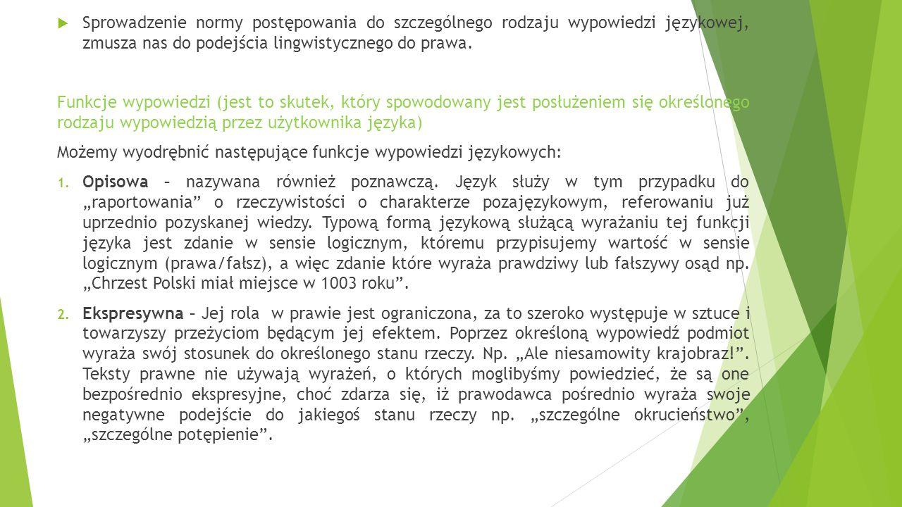  Sprowadzenie normy postępowania do szczególnego rodzaju wypowiedzi językowej, zmusza nas do podejścia lingwistycznego do prawa. Funkcje wypowiedzi (