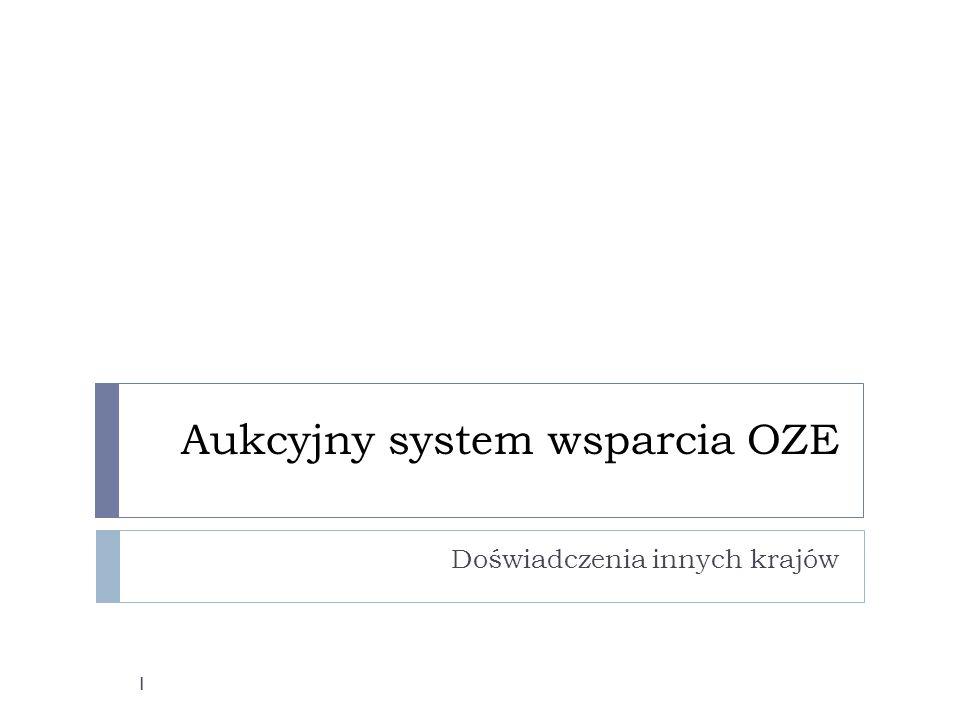 Aukcyjny system wsparcia OZE Doświadczenia innych krajów 1