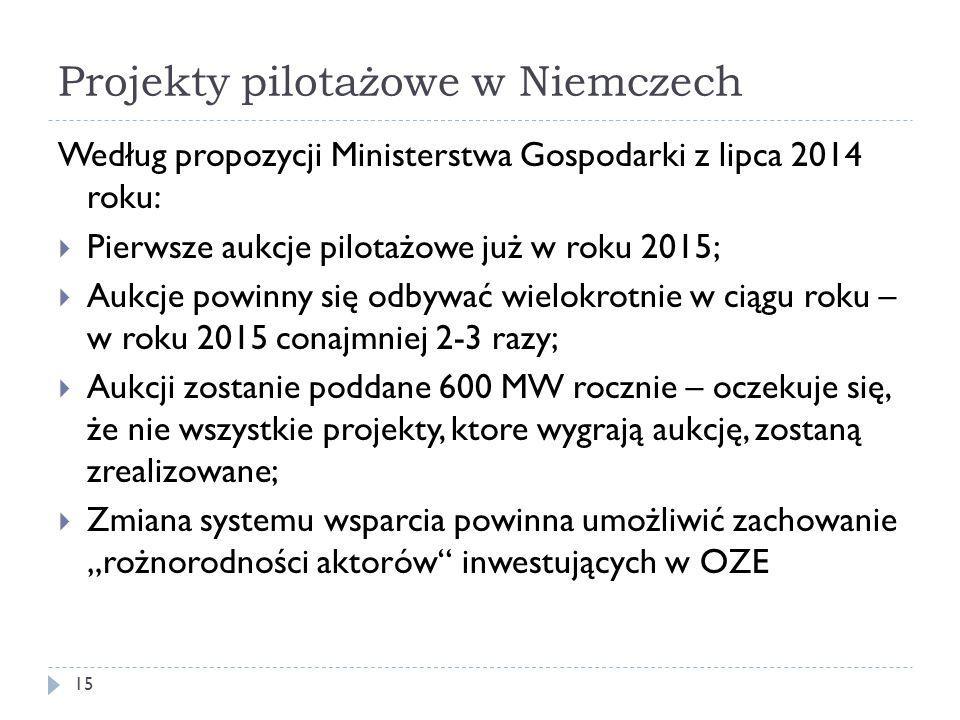 Projekty pilotażowe w Niemczech 15 Według propozycji Ministerstwa Gospodarki z lipca 2014 roku:  Pierwsze aukcje pilotażowe już w roku 2015;  Aukcje