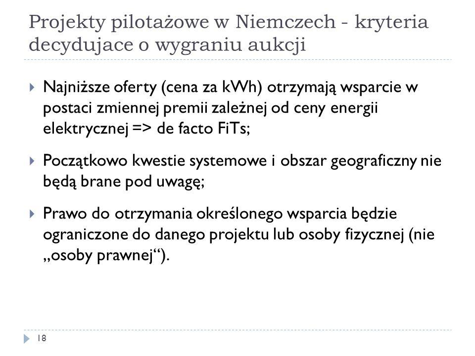 Projekty pilotażowe w Niemczech - kryteria decydujace o wygraniu aukcji 18  Najniższe oferty (cena za kWh) otrzymają wsparcie w postaci zmiennej prem