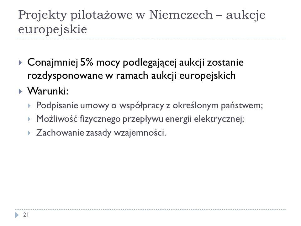 Projekty pilotażowe w Niemczech – aukcje europejskie 21  Conajmniej 5% mocy podlegającej aukcji zostanie rozdysponowane w ramach aukcji europejskich
