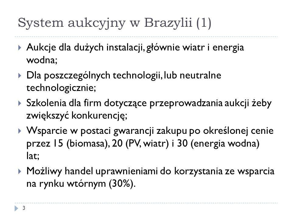 System aukcyjny w Brazylii (1) 3  Aukcje dla dużych instalacji, głównie wiatr i energia wodna;  Dla poszczególnych technologii, lub neutralne techno