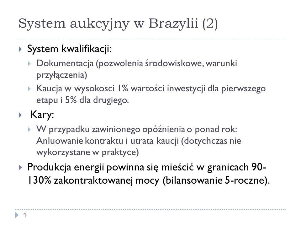 System aukcyjny w Brazylii (2) 4  System kwalifikacji:  Dokumentacja (pozwolenia środowiskowe, warunki przyłączenia)  Kaucja w wysokosci 1% wartośc