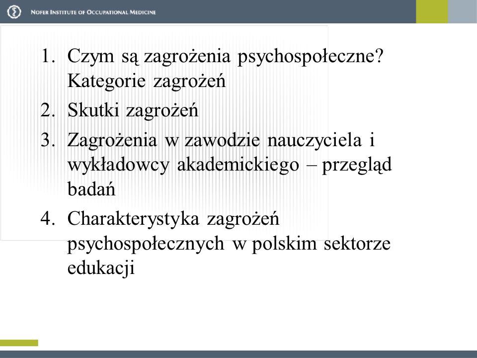 1.Czym są zagrożenia psychospołeczne? Kategorie zagrożeń 2.Skutki zagrożeń 3.Zagrożenia w zawodzie nauczyciela i wykładowcy akademickiego – przegląd b