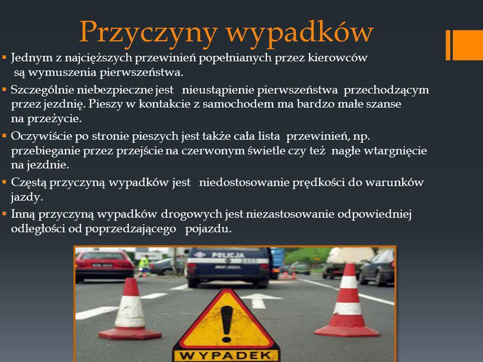 Przyczyny wypadków  Jednym z najcięższych przewinień popełnianych przez kierowców są wymuszenia pierwszeństwa.