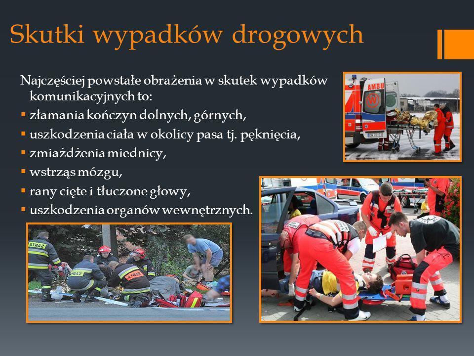 Skutki wypadków drogowych Najczęściej powstałe obrażenia w skutek wypadków komunikacyjnych to:  złamania kończyn dolnych, górnych,  uszkodzenia ciała w okolicy pasa tj.