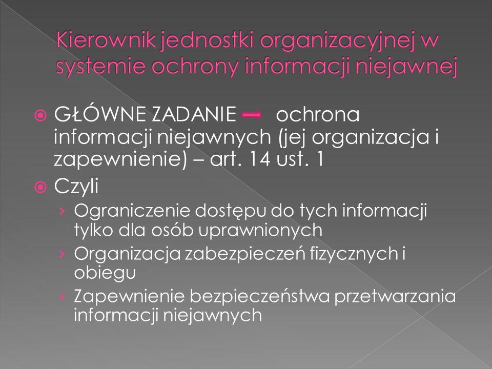  GŁÓWNE ZADANIEochrona informacji niejawnych (jej organizacja i zapewnienie) – art. 14 ust. 1  Czyli › Ograniczenie dostępu do tych informacji tylko