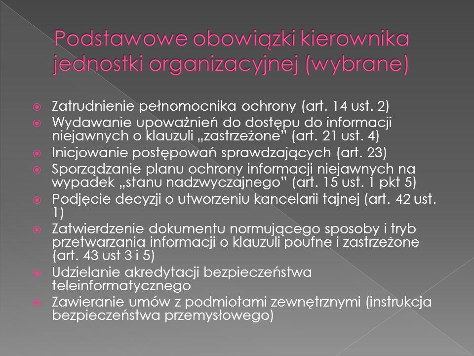 """ Zatrudnienie pełnomocnika ochrony (art. 14 ust. 2)  Wydawanie upoważnień do dostępu do informacji niejawnych o klauzuli """"zastrzeżone"""" (art. 21 ust."""